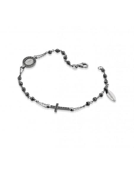 bracciale argento sacro icone zirconi neri