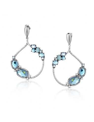 orecchini argento fantasia topazio azzurro