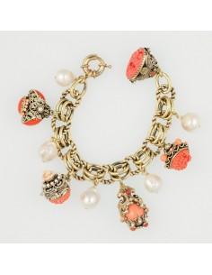 bracciale stile antico charms corallo
