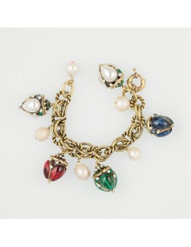 bracciale stile antico charms pietre colore perle