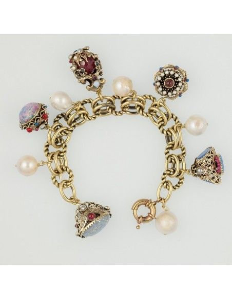 bracciale stile antico charms opale perla corniola