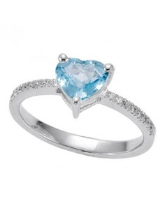 anello Blu Water acquamarina cuore e brillanti BIBIGI' kt. Aq. kt