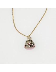 collana stile antico ciondolo rosa e perle