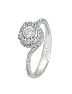anello solitario con pavè NODO D'AMORE di BIBIGI' kt.0.98