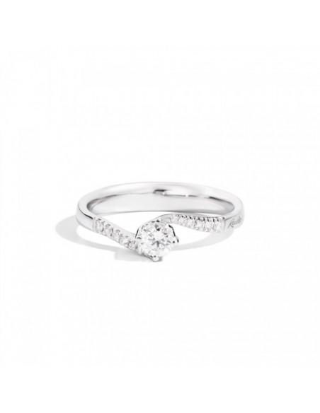 anello solitario e pavè diamanti ANNIVERSARY RECARLO kt. 0.35 diamanti e oro bianco