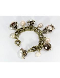 Bracciale stile Antico, doppio Charms, Perle