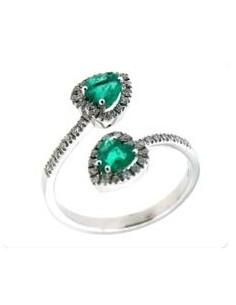 anello LUNA brillanti e smeraldo BIBIGI' kt. S. kt.