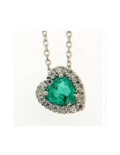 girocollo cuore LUNA brillanti e smeraldo BIBIGI' kt.0.06 S. kt.0.39