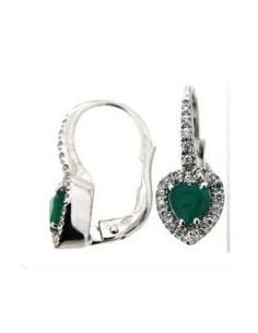 orecchino cuore LUNA brillanti e smeraldo BIBIGI' kt.0.16 S. kt.0.60