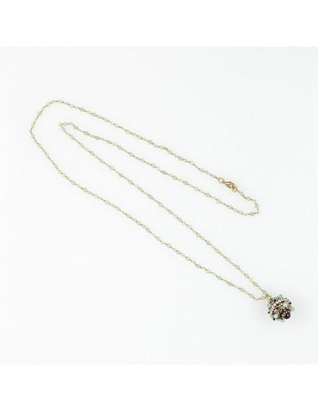 collana stile antico, con ciondolo agata verde, onice e perle