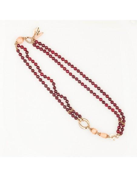 collana argento rosè, agata fragolina e corallo