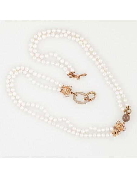 collana argento rosè, perle e quarzo fumè