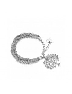 Luca Barra, Bracciale Albero della vita con cristalli bianchi - silver