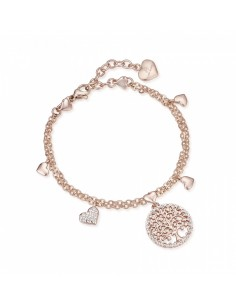 Luca Barra, Bracciale albero della vita con ciondolo e cuori - rose gold
