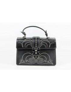 Borsa POMIKAKI Melania borchie, in ecopelle colore black