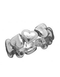 Anello argento fascia CUORI Giovanni RASPINI