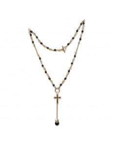 collana argento onice e croce cristalli bagnota oro