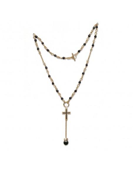collana argento M.C.STERLING onice e croce cristalli bagno oro