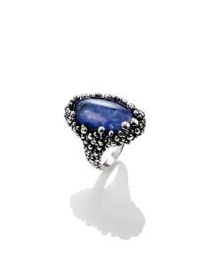 Anello argento perlage cristallo di rocca e sodalite Giovanni Raspini